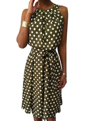 Crew Neck Women Dresses Going Out Polka Dots Dresses