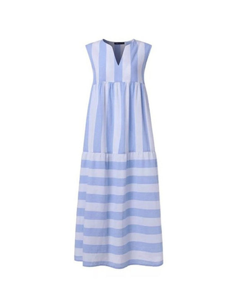 Holiday Seaside Light Blue Stripes V neck Casual Sleeveless A-line Swing Dresses