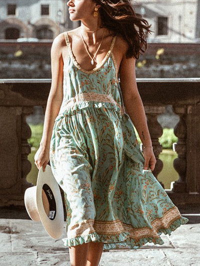 Lightgreen Spaghetti Floral Printed Sleeveless Dresses