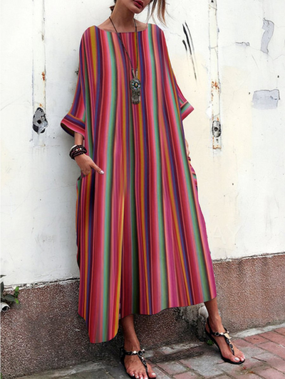 Red Cocoon Women Daily 3/4 Sleeve Casual Printed Striped Summer Dress