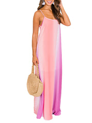 Colorful Gradient Chiffon Bohemian Dress