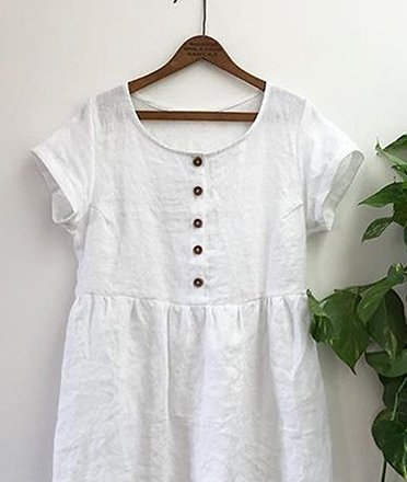 Vintage Plain Plus Size Short Sleeve Casual Dresses