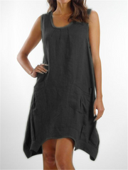 Plain Cotton-Blend Casual Crew Neck Dresses