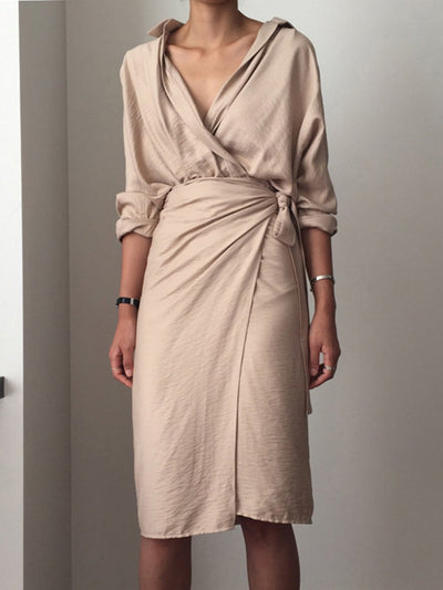V neck  Women Daily Long Sleeve Linen Casual Solid Fall Dress