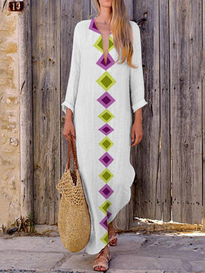 Plus Size Printed Geometric V-Neck Maxi Fall Dresses