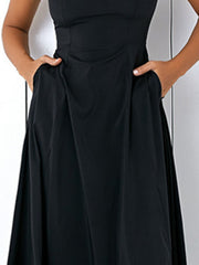 Plus Size Women Black A-line Party Sleeveless Pockets Dress