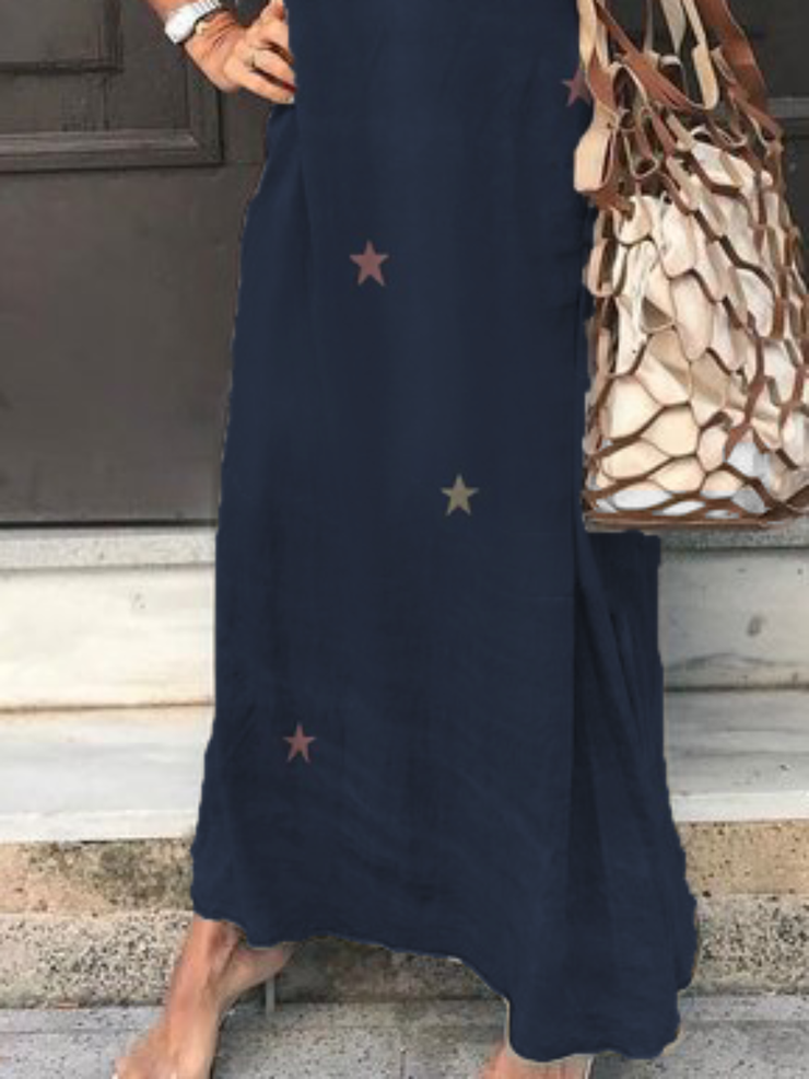 Plus size Star Printed Short Sleeve Casual Dresses