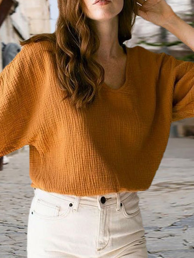 Crew Neck Casual Plain Shirts & Tops