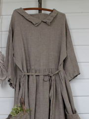 Solid Pockets 3/4 Sleeve Casual Dresses