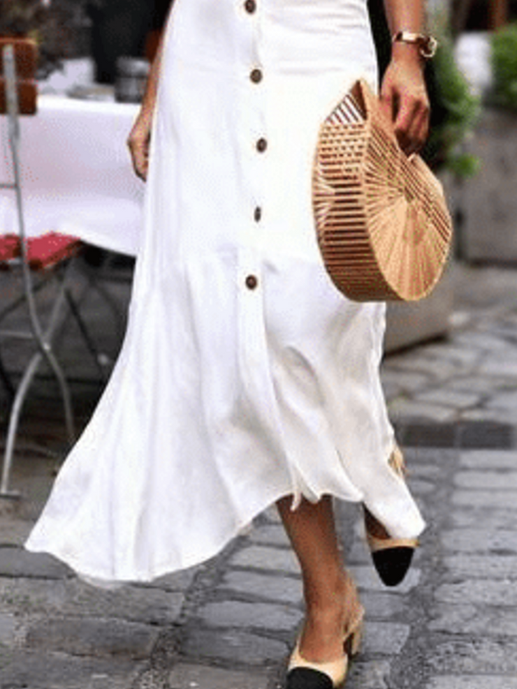 Sleeveless Solid Cotton-Blend  Casual Dresses
