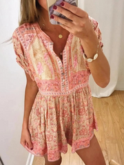 Orange V Neck Casual Short Sleeve Dresses
