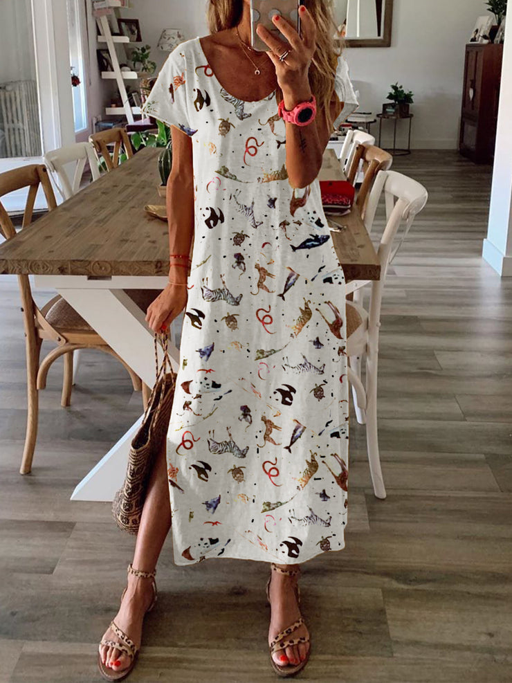 Summer Printed Maxi Dress Short Sleeve Dresses