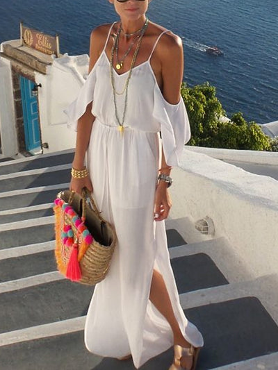 White Off Shoulder Holiday Cotton-Blend Dresses
