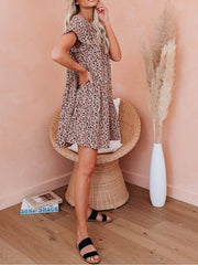 Leopard Printed Short Sleeve Casual Dresses
