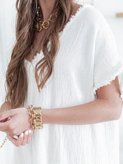 White V Neck Casual Plain Dresses