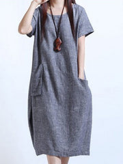 Women Daily Short Sleeve Cotton-blend Casual Pockets Solid Casual Dress