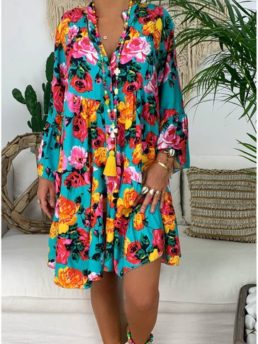 V Neck Buttoned Down Floral Midi Dresses