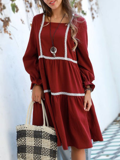 Wine Red Holiday Square Neck Dresses