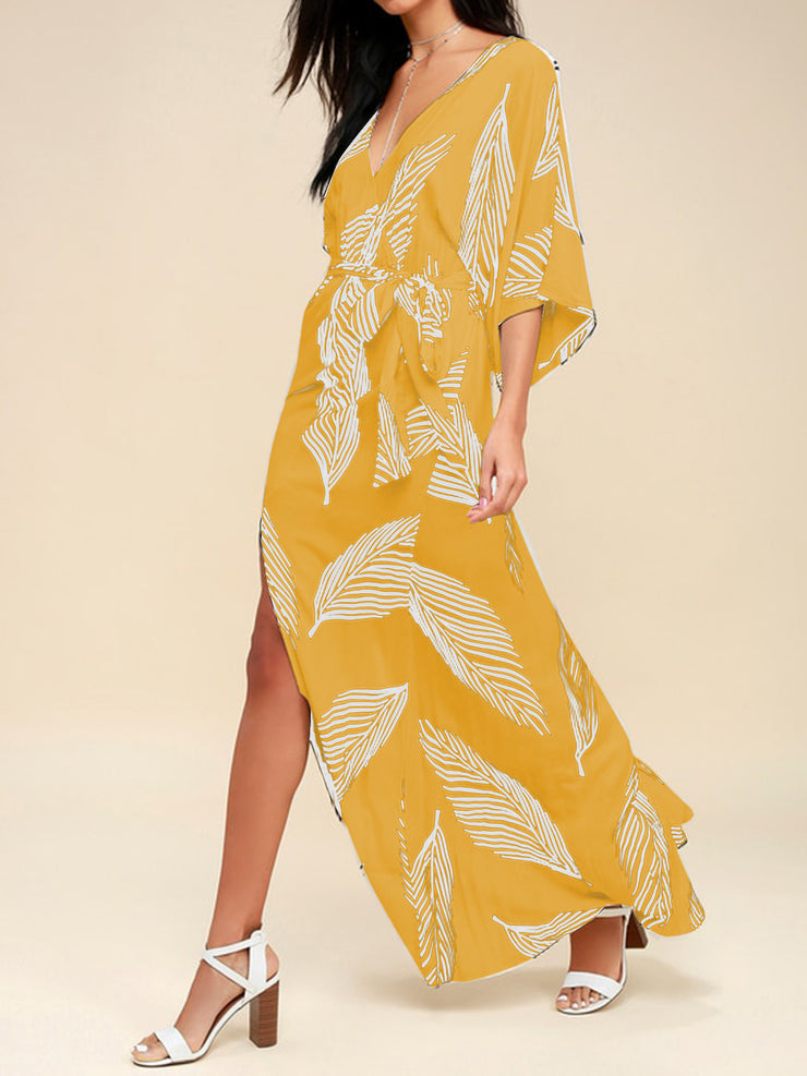 V-neck printed ankle casual dress