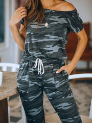 Army Green Camo Drawstring Short Sleeve Jumpsuits