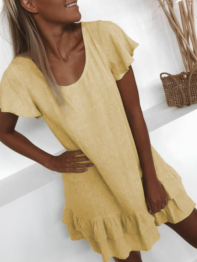 Plus Size Casual U-Neck Solid Short Sleeve Mini Dresses