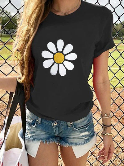 Sunflower Black Casual Crew Neck Shirts & Tops