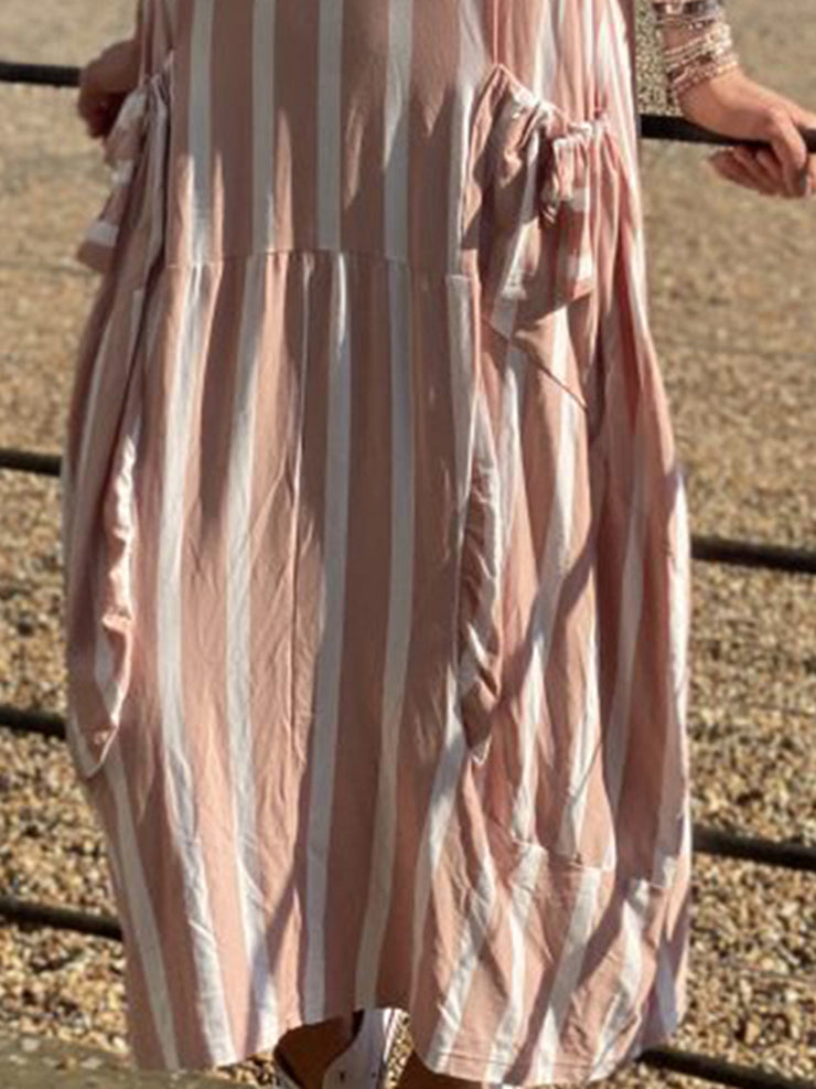 Women Striped Caftan Cocoon Casual Dresses