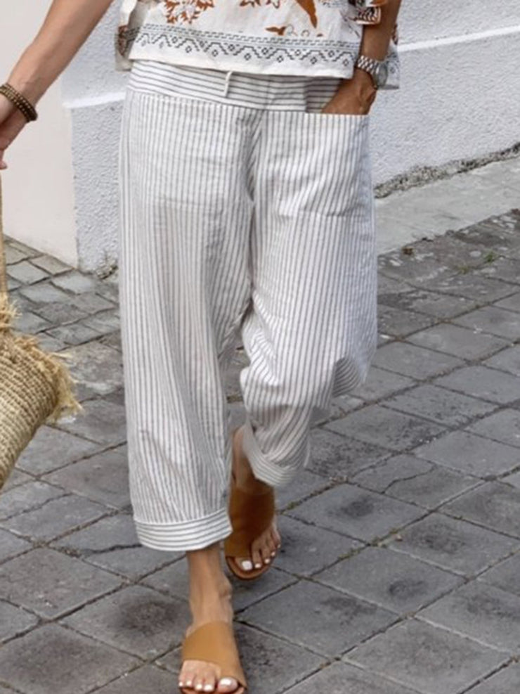 Women Striped Pockets Shift Casual Capri Pants