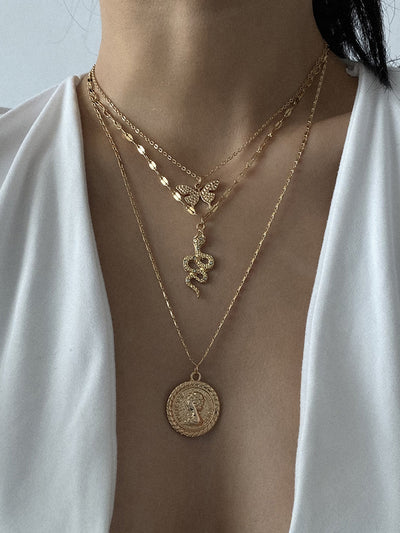Women Alloy Multi-layer Necklaces