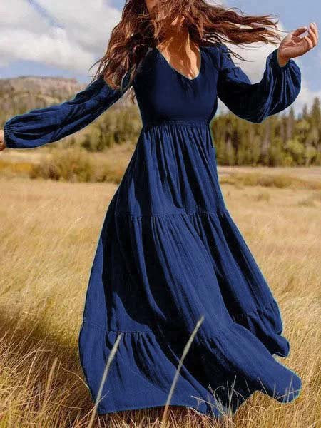 Vintage Plus Size Plain Long Sleeve Casual Dresses