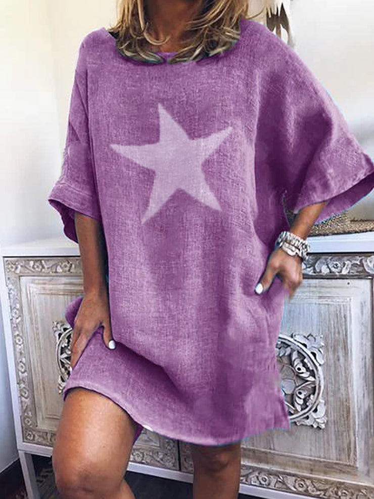Purple Short Sleeve Cotton-Blend Dresses