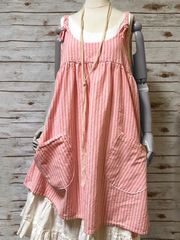Red Sleeveless Cotton-Blend Striped Dresses