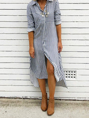 Shirt Collar Stripe Women Dresses Casual Buttoned Dresses