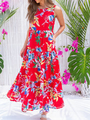 Women Floral Printed Paneled Sleeveless Summer Dresses