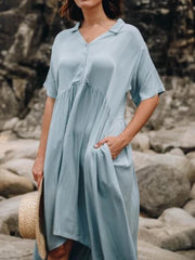 Women Caftan Pockets Solid Casual Dresses