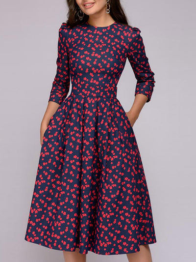 Crew Neck Women Spring Dresses Party Floral-Print Floral Dresses