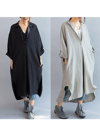 Shift Women Daytime Long Sleeve Cotton Basic Slit Solid Casual Dress