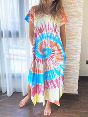 Women Tie-Dye Slit Side Casual Shift Maxi Dresses