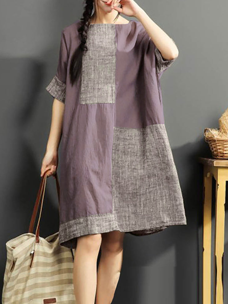 Plus Size Women  Shift Daytime Half Sleeve Color-block  Dress