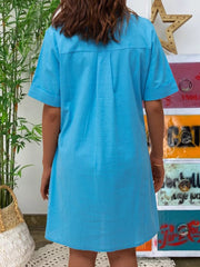 Shirt Collar Short Sleeve Casual Dresses