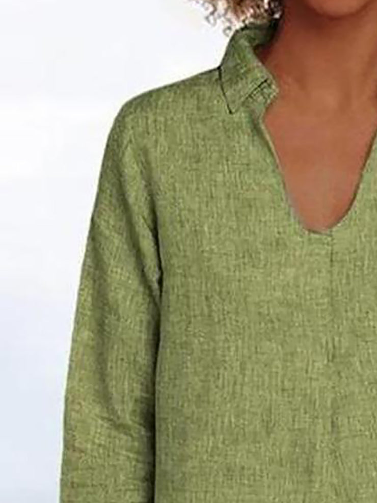 V Neck Collared Casual Linen Blouse Tops