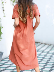 Orange Short Sleeve V Neck Dresses