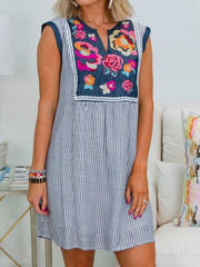 Blue Floral Sleeveless Striped Shift Dresses