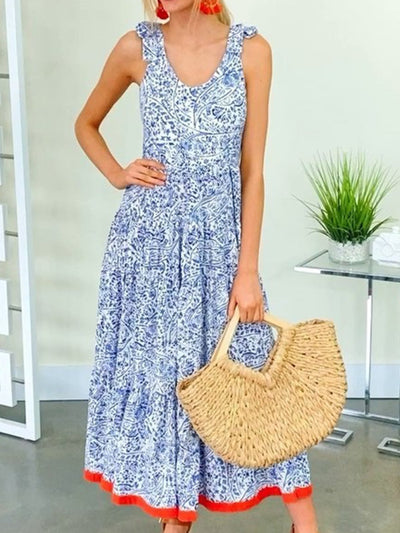 Floral Printed Sleeveless Crew Neck Shift Dresses