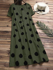 Casual Polka Dot Short Sleeve Cotton Dresses for Women