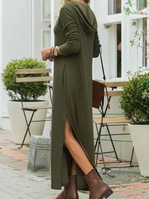 Casual Star Printed Long Sleeve Hoodie Maxi Dresses