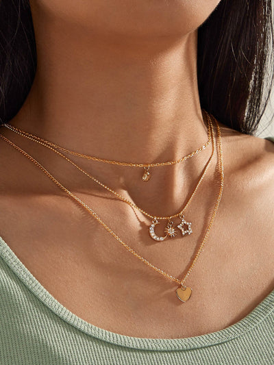 Women Alloy Multi-layer Drop Necklaces