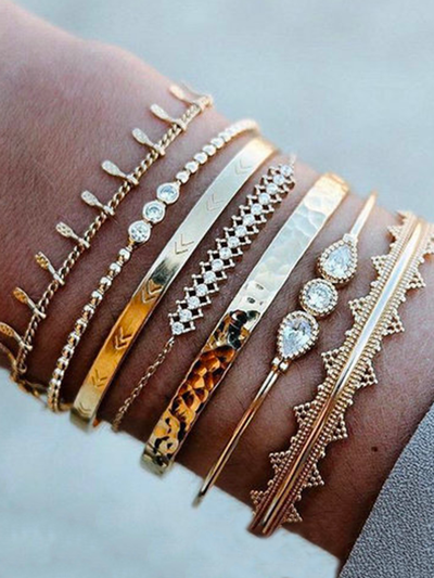 Simple Beaded Bracelet Personalized Retro Pattern Opening Golden Reflection Seven-Piece Bracelet