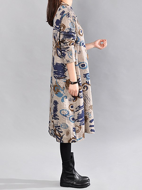 Stand Collar Gray A-line Women Casual Long Sleeve Cotton Abstract Casual Dress