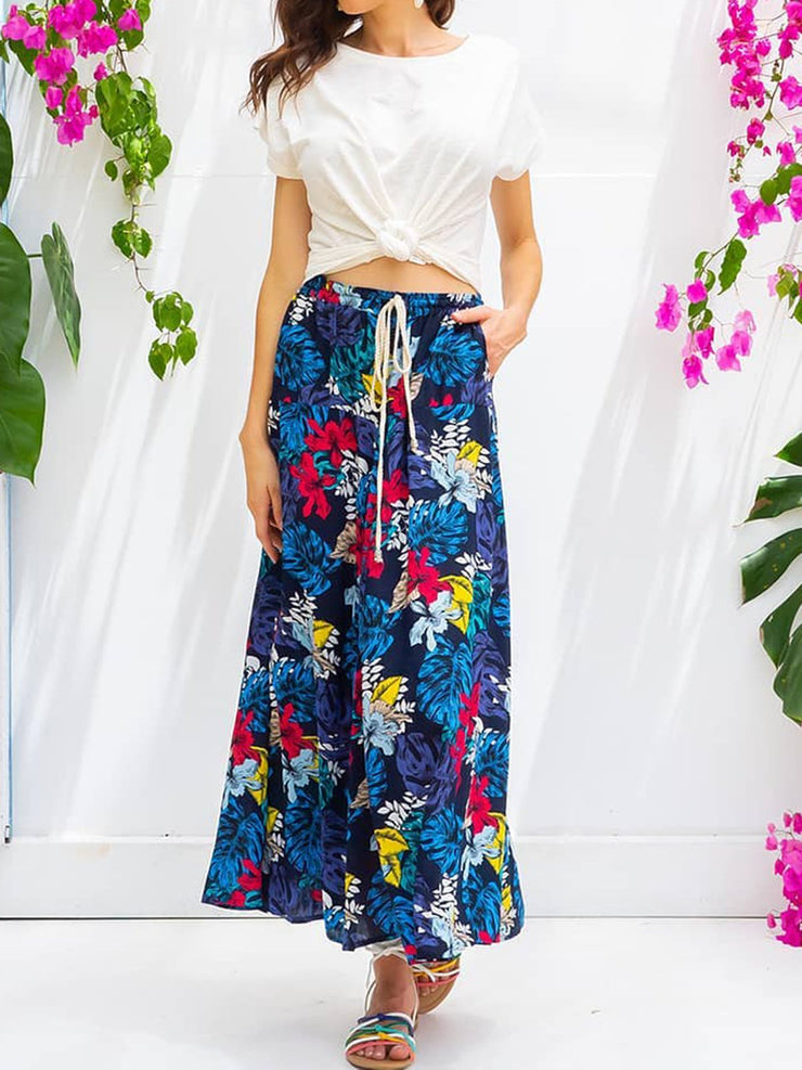 Printed Plants Pockets Skirts Plus Size Skirts